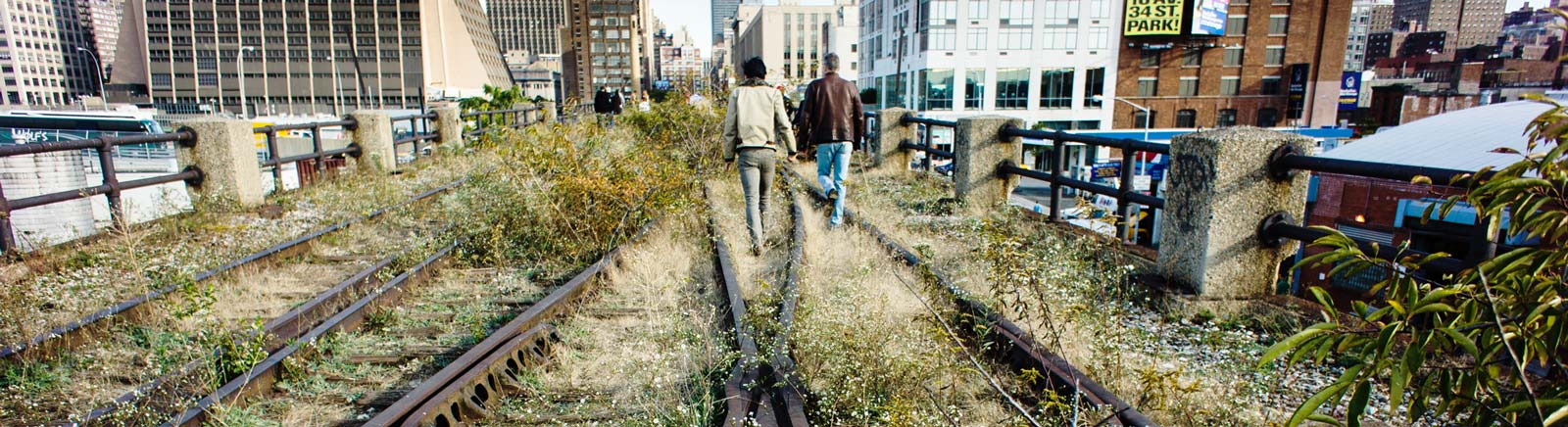 Walking the unfinished third section of the High Line Park, New York